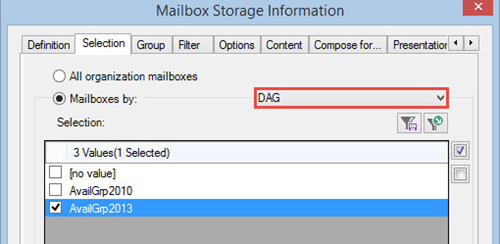 Selecting Mailboxes by DAG