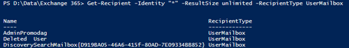 Get-Recipient Office 365 command with Identity parameter
