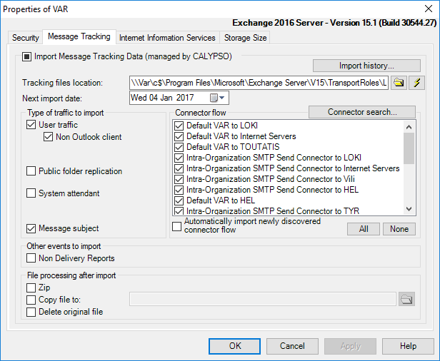 Configure specific import options for the selected Exchange server