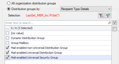 Select Distribution Groups by RecipientTypeDetails