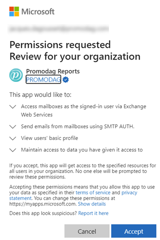 Admin consent for Promodag Reports